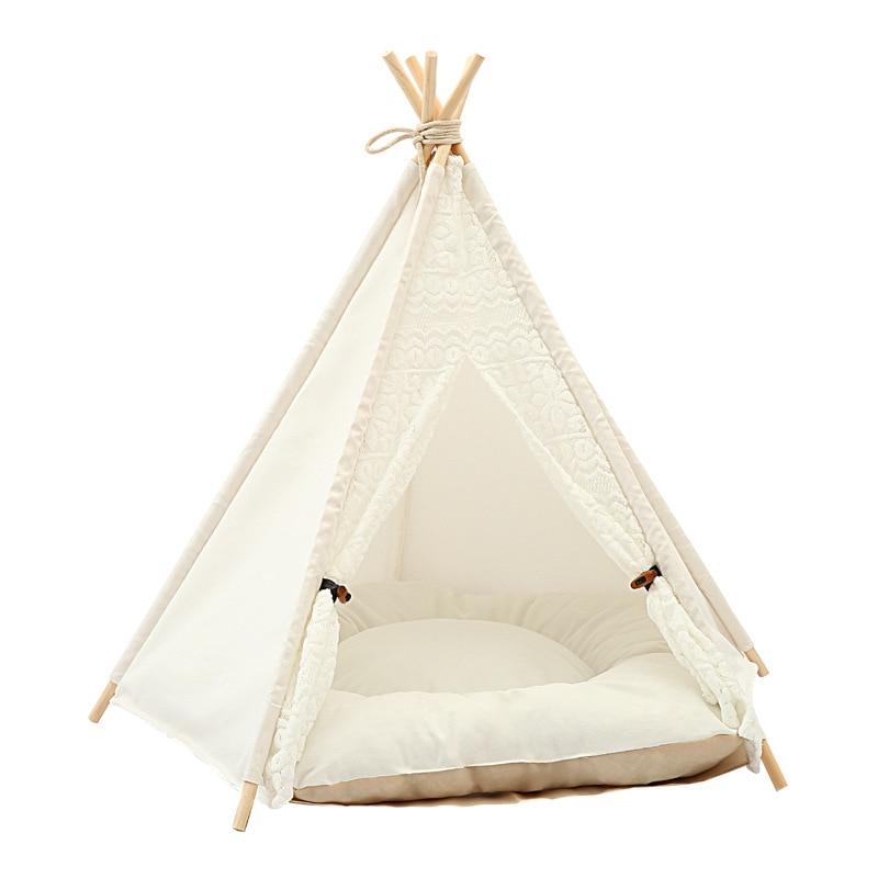 Купить с кэшбэком JORMEL Pet Tent Dog Bed Cat Toy House Portable Washable Pet Teepee Stripe Pattern  Fashion 2019 Contain Mat