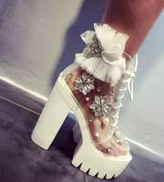 Newest Transparent PVC Ankle Boots Bling Crystal Pearl Bead Thick Heels Boots for Woman White Lace Flower Platform Lace up Boots