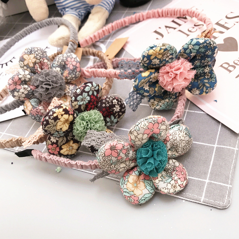 Korea Lace Flower Crown Ball Hair Band Hair Accessories lovely Embroidery Headband for Girls H Band Hair Bow Princess 4