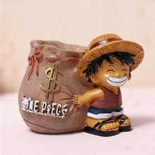 Anime One Piece Luffy Figure Doll Resin Pen Holders Collectible Model Toys