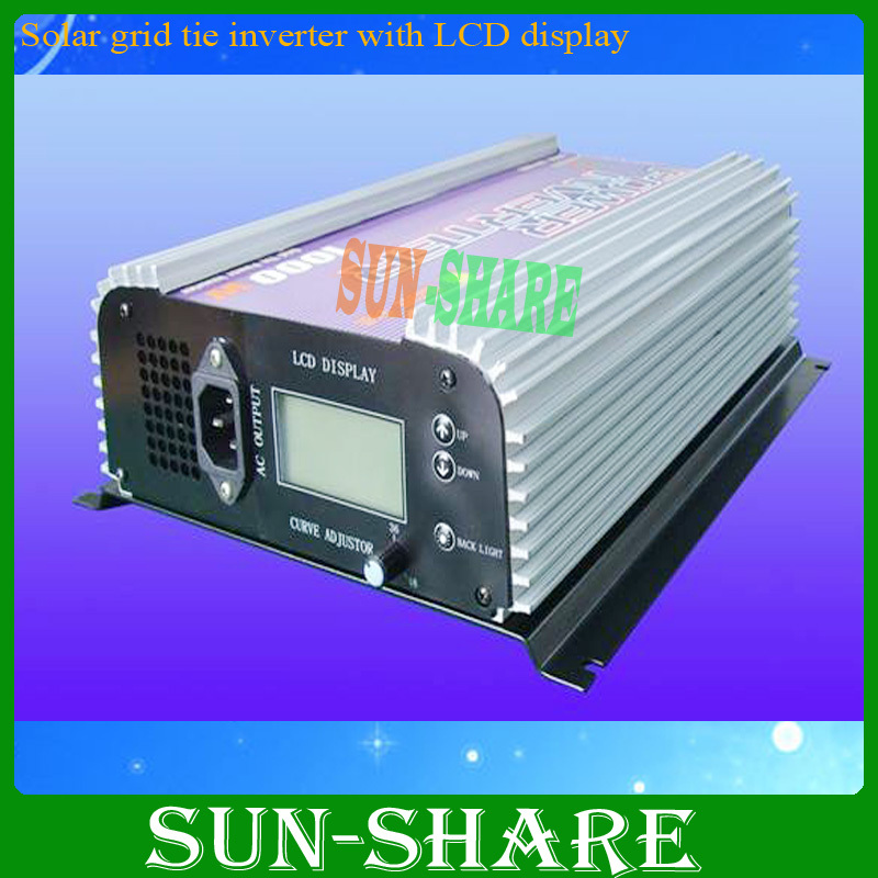 Free shipping!1kw /1000w grid tie inverter with LED display  input DC22v-60v  output.AC190V-260V solar power on grid tie mini 300w inverter with mppt funciton dc 10 8 30v input to ac output no extra shipping fee