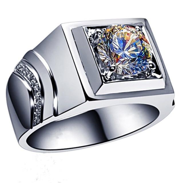 d73d60958e82 Anillo de hombre de plata genuina joyería de matrimonio 2CT anillo de  diamantes sintéticos para anillo