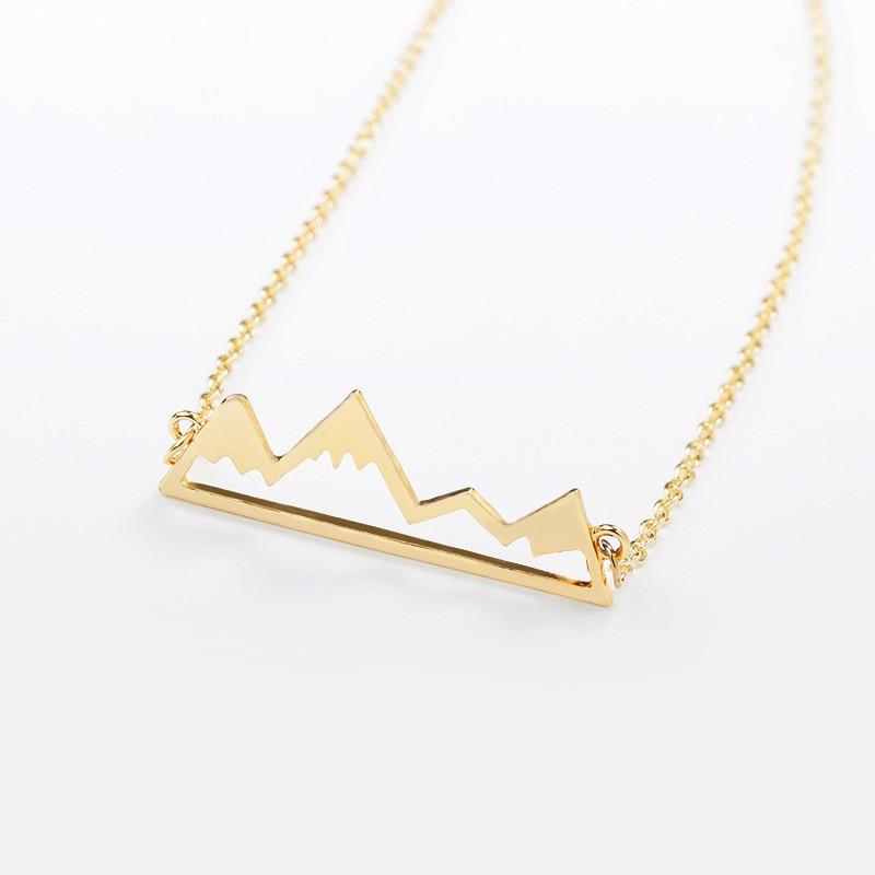 10 pieces/lot Hollow Metal Link Chains Necklace Gold Silver Black Color Statement Charm Snow Mountain Pendant Necklace For Women