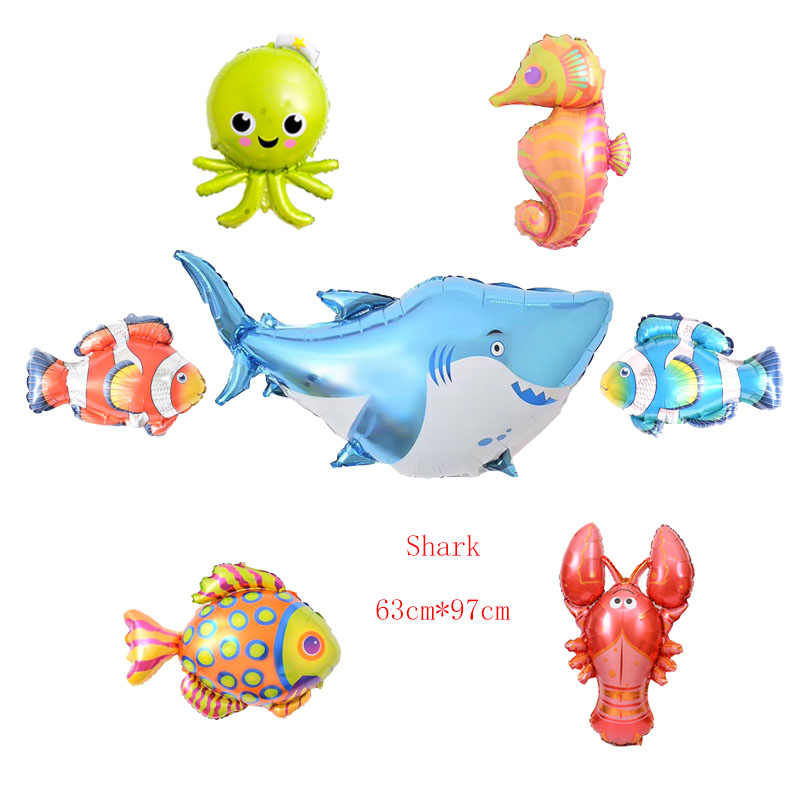 7 шт./лот Большие Морские воздушные шарики в виде животных фольга мини рыбный шар украшения на день рождения детские надувные игрушки Детский дневной шар