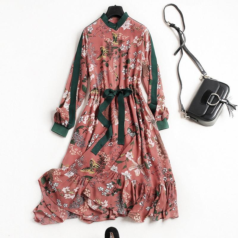 все цены на New arrival 2018 spring summer fashion women floral patterns print chiffon dress long sleeve waist lace up ruffles hem dresses