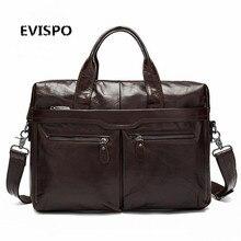 EVISPO Genuine Leather Men Handbag High Quality Leather Zipper Style Business Men Bag 14inch Laptop Briefcase Messenger Bag