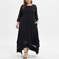 Летнее модное однотонное мусульманское платье большого размера с круглым вырезом Простое Повседневное дышащее модное однотонное платье М...