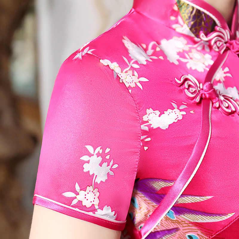 Vestido de novia chino rosa y rojo, novedad del 2019, Cheongsam largo Sexy elegante, Qipao de verano de talla grande S M L XL XXL 3XL
