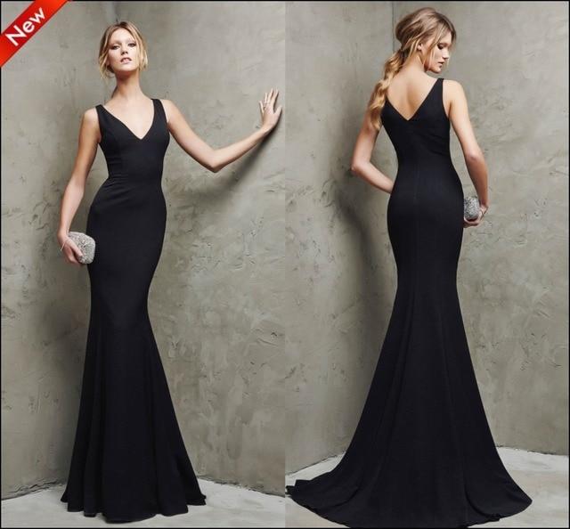 9ea37fd33 Nuevo Anuncio vestido largo fiesta noche 2015 vestidos fiesta largos al por  mayor sirena negro vestido cuello v 150613