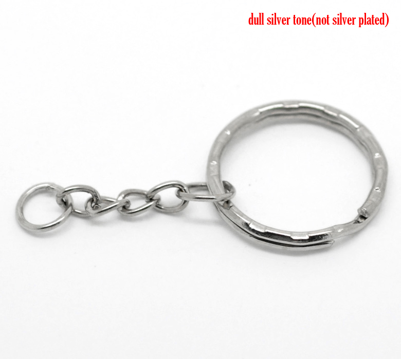 DoreenBeads Alloy Key Chains Key Rings Round Silver Tone 5.3cm(2 1/8