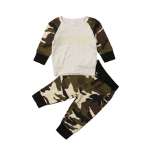 Kids Baby Girl Boy Clothes Cotton Tops Long Sleeve T-shirt Camouflage Pants Leggings Toddler Outfits Set 2019 2017 baby girl flower winter clothes shirt long sleeve cotton tops pants leggings set fall cotton girls hoodie toddler clothing