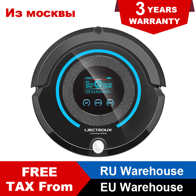 Liectroux A338 Robot Vacuum Cleaner with LCD Touch Screen Robot Cleaner with Auto Recharge Central Brushes