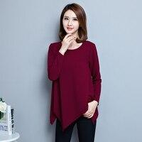 5xl plus big size blusas feminina spring autumn winter 2017 korean women long-sleeved loose casual t shirts female Y0438