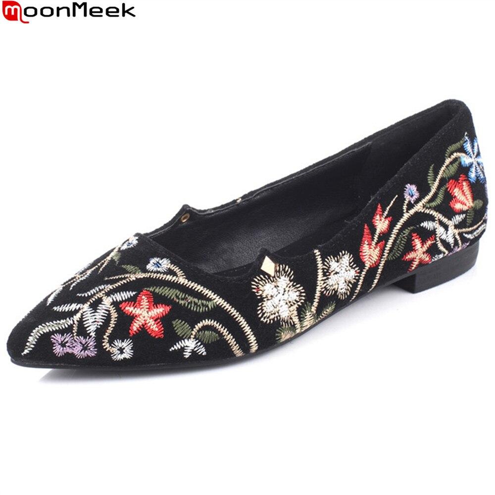 Printemps Peu Profonde Chaussures 2018 Femmes Pointu Bal Moonmeek Chaude Taille Noir Bout Vente 34 Mode Dames Broder Nouvelles 43 Appartements Grande De vc8zq