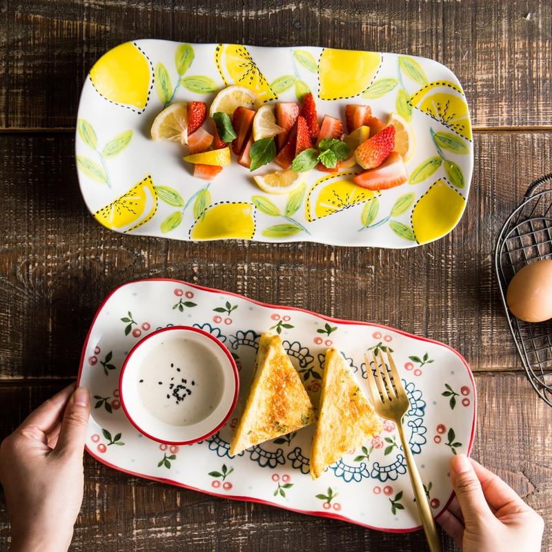 23 01 50 De Réduction Plat Rectangulaire Irrégulier Vaisselle En Céramique Maison Créative Mignon Dessin Animé Poisson Plat Sushi Plaque Peint à La