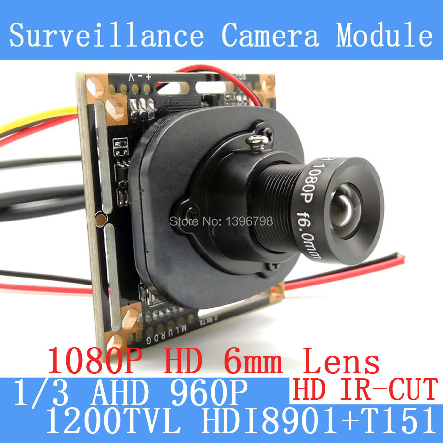 1.3MP 1280*960 1200TVL AHD 960P mini night vision 1/3 HDI8901+T151 Camera Module 2MP 6mm Surveillance Camera ODS / BNC cable hkes 46pcs lot 1 3mp security ahd mini camera module with bnc port cable and 6mm lens