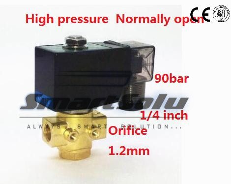 Free shipping 90bar 2 way Brass water high pressure solenoid valve normally open 1/4 BSP 12V DC Orifice 1mm  NO with plug type куртка голубого цвета brums ут 00008775