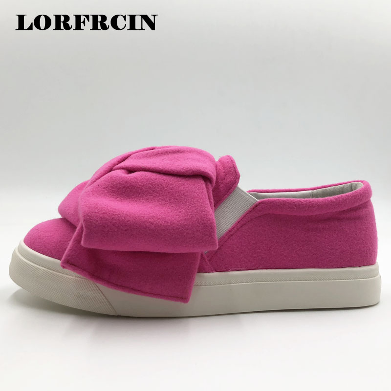 Plus Size 42 Flat Platform Shoes Woman Creepers Super Big Bow Woolen Casual Shoes For Women Mesh Flats Slip On Loafers LORFRCIN 2017 spring women flats pu leather shoes woman pointed toe slip on platform loafers woman creepers casual shoes size 35 40