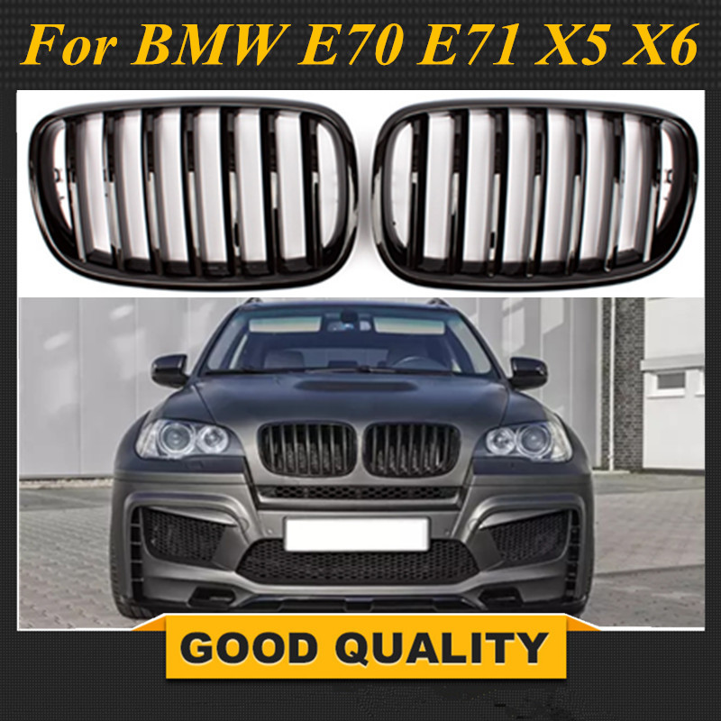 L+R Gloss/Matt Black Double/single Slat Kidney Grille Front Grill For BMW X5 X6 E70 E71 2008 2014 Car Styling Racing Grills