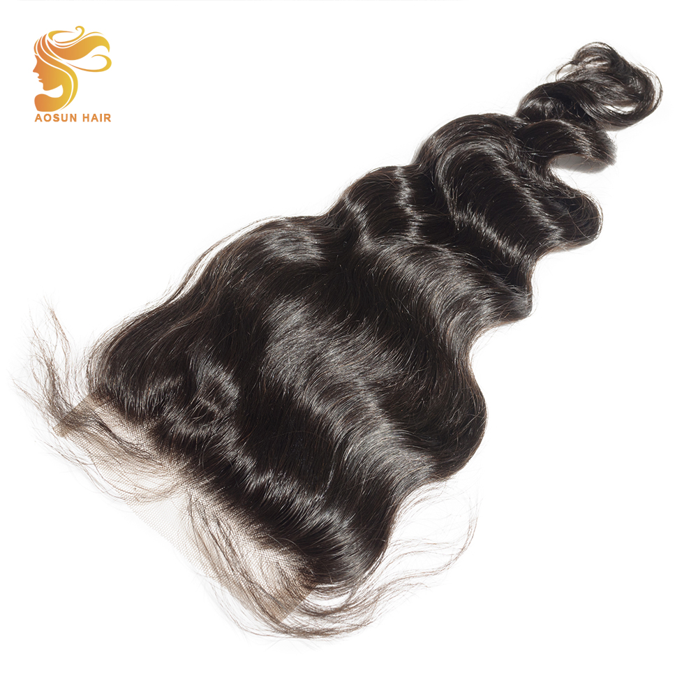 AOSUN HAIR Loose Wave 4 x4 Free Middle Part Lace Closure With Baby Hair 1 Piece