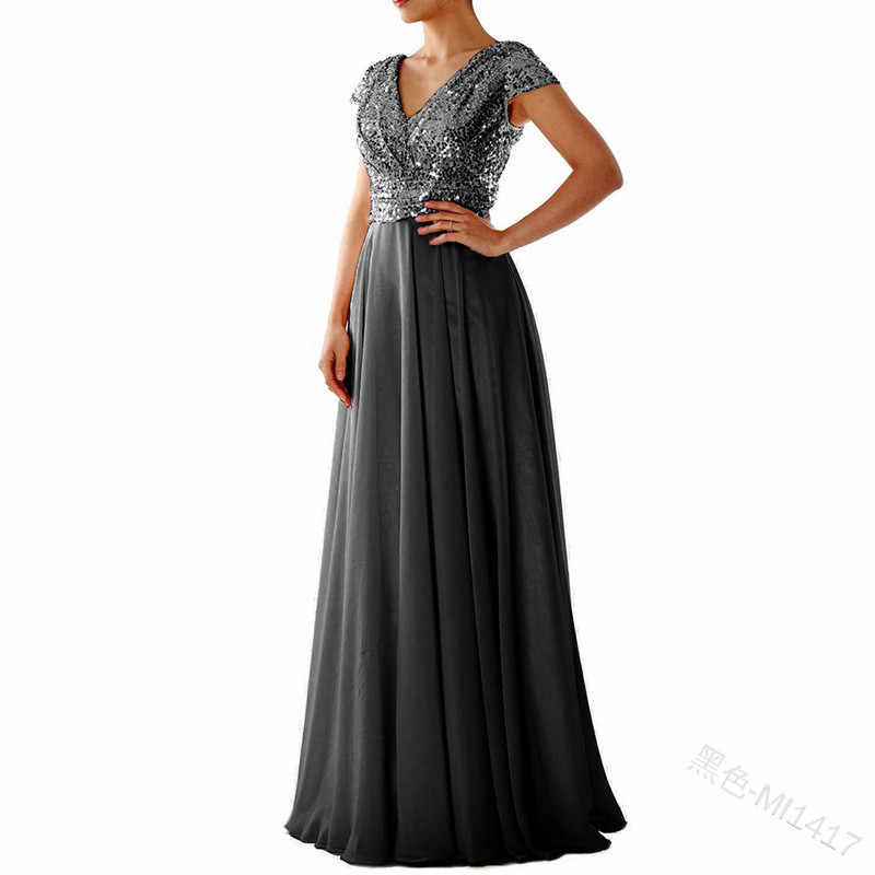 2019 Women Summer Vintage Dresses Party Night Sexy Elegant Plus Size Sequined Long Dress