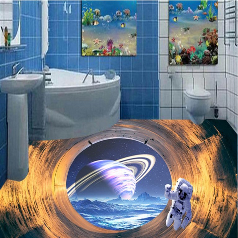 beibehang Large - scale customized to paste the space - time tunnel cosmic planet 3D floor painting three - dimensional painting large scale organizational change