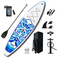 """Inflatable Stand Up Paddle Board Sup-Board Surfboard Kayak Surf set 10'6""""x33''x6'' with Backpack,leash,pump,waterproof bag"""