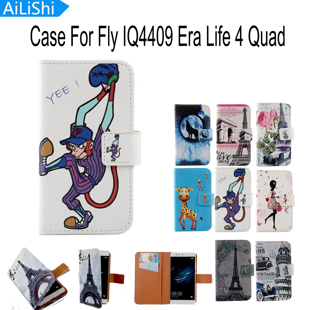 AiLiShi Accessory Hot Optional Flip Cover Skin Pouch With Card Slot PU Leather Case Phone Case For Fly IQ4409 Era Life 4 Quad