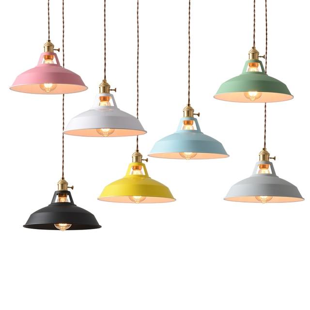 Vintage Colorful Led Pendant Lights Loft Lamp Nordic Hanglamp E27 Bulb Led pendant lamp Kitchen Dining room Restaurant ZDD0017