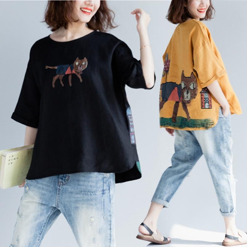 BIG SIZE 4XL Summer Women Fashion Cute Cartoon Cat Print Tops Tee Lady Female Plus Large Short Sleeve Loose Cotton Linen T Shirt