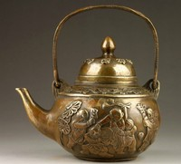 decoration bronze factory Pure Brass Antique Elaborate Chinese handmade old style copper five children playing teapot