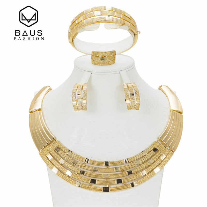 2017 Quality Saudi Gold Color Nigerian Wedding Jewelry Set Bridal Dubai Dress Accessories Jewelry Sets African Beads Jewelry Set