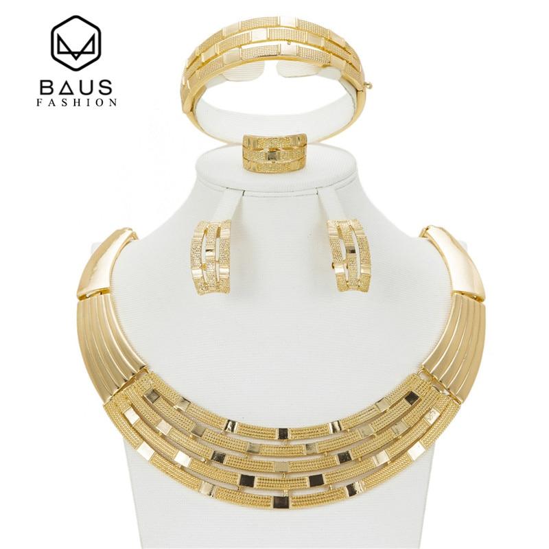 2017 Quality Saudi Gold Color Nigerian Wedding Jewelry Set Bridal Dubai Dress Accessories Jewelry Sets African Beads Jewelry Set