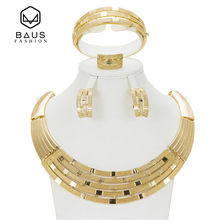 2017 Quality Saudi Gold Color Nigerian Wedding Jewelry Set Bridal Dubai Dress Accessories Jewelry Sets African Beads Jewelry Set(China)