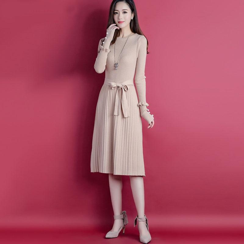 Women Sweater Dress 2019 New Autumn And Winter Thin Belt Female Knit Dress Korean Style Hot