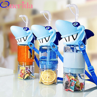 Creative Large Capacity Shark Portable Plastic Funny Drink Juice Water Bottle Cartoon Child With Rope Double Layer Kettle