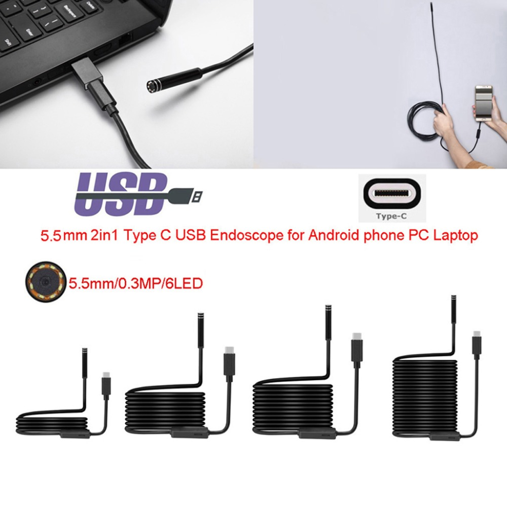 Flexible 5.5mm 6LED USB Type C Waterproof Endoscope Inspection Camera 1M/3M/5M/7M10M PC Android For Huawei LG OnePlus Letv