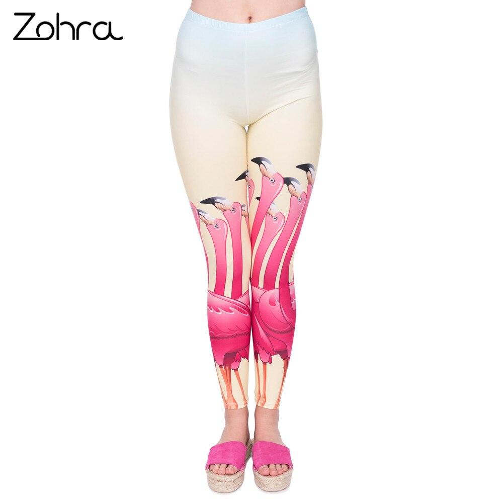 Zohra Neue Flamingo Serie Frauen Legging Blick Up Jungs Druck Leggings Mode Hohe Taille Frau Hosen