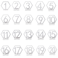 1 20 Sign Acrylic Hexagon Number Wedding Standing Mirror Silver Table Decoration
