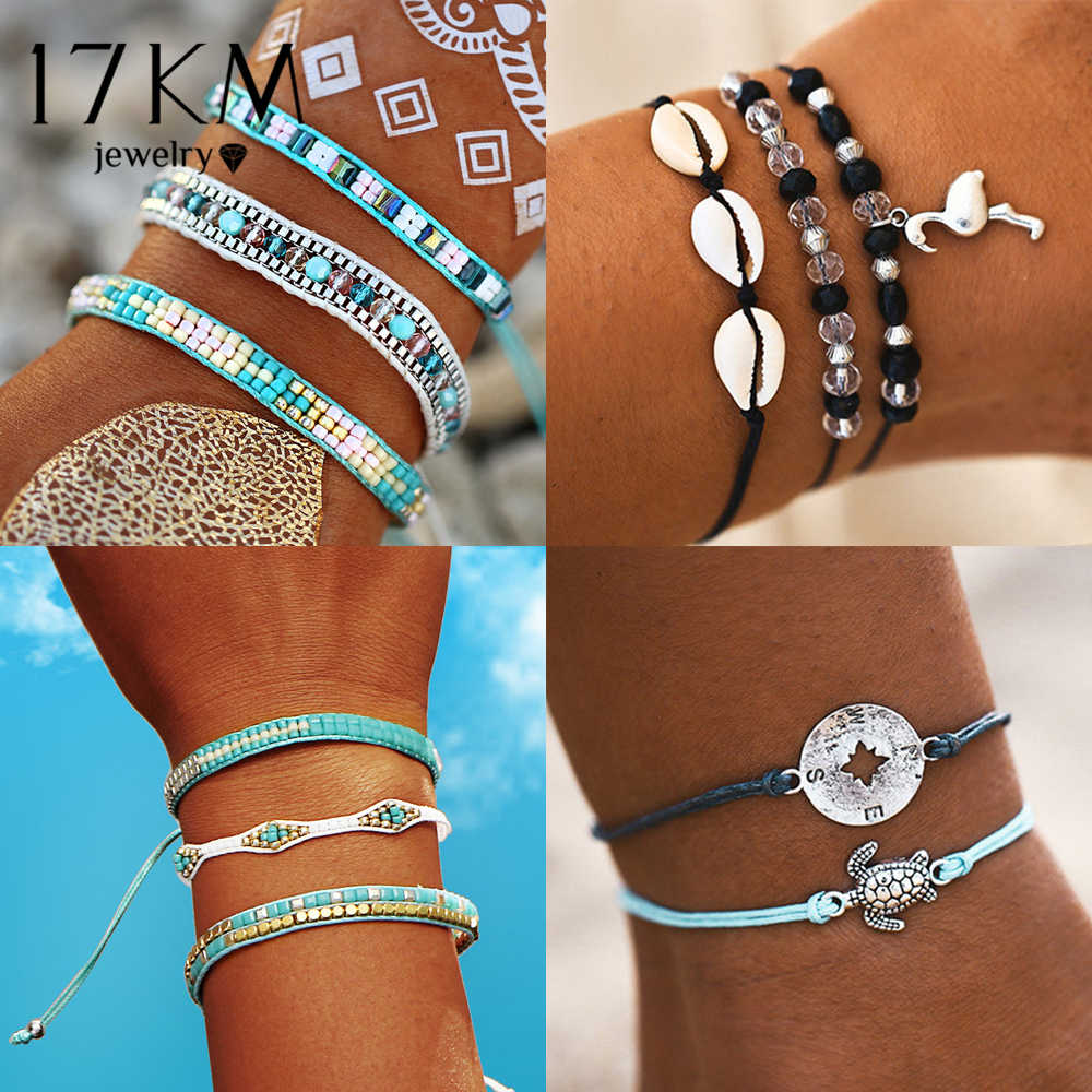 17KM Bohemian DIY Weave Rope Bracelets Set For Women Men Girls Fashion Handmade Wrap Friendship Charm Bracelet Bangles 2019