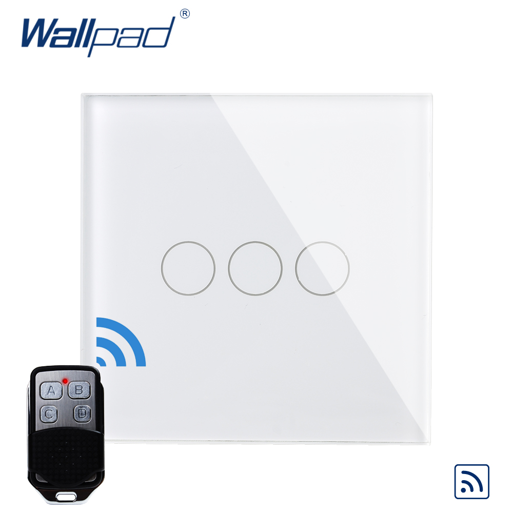3 Gang 1 Way Remote Control Wallpad Luxury Crystal Glass Wall Light Touch Switch UK AC 110-250V With Remote Controller smart home luxury crystal glass 3 gang 1 way remote control wall light touch switch uk standard with remote controller