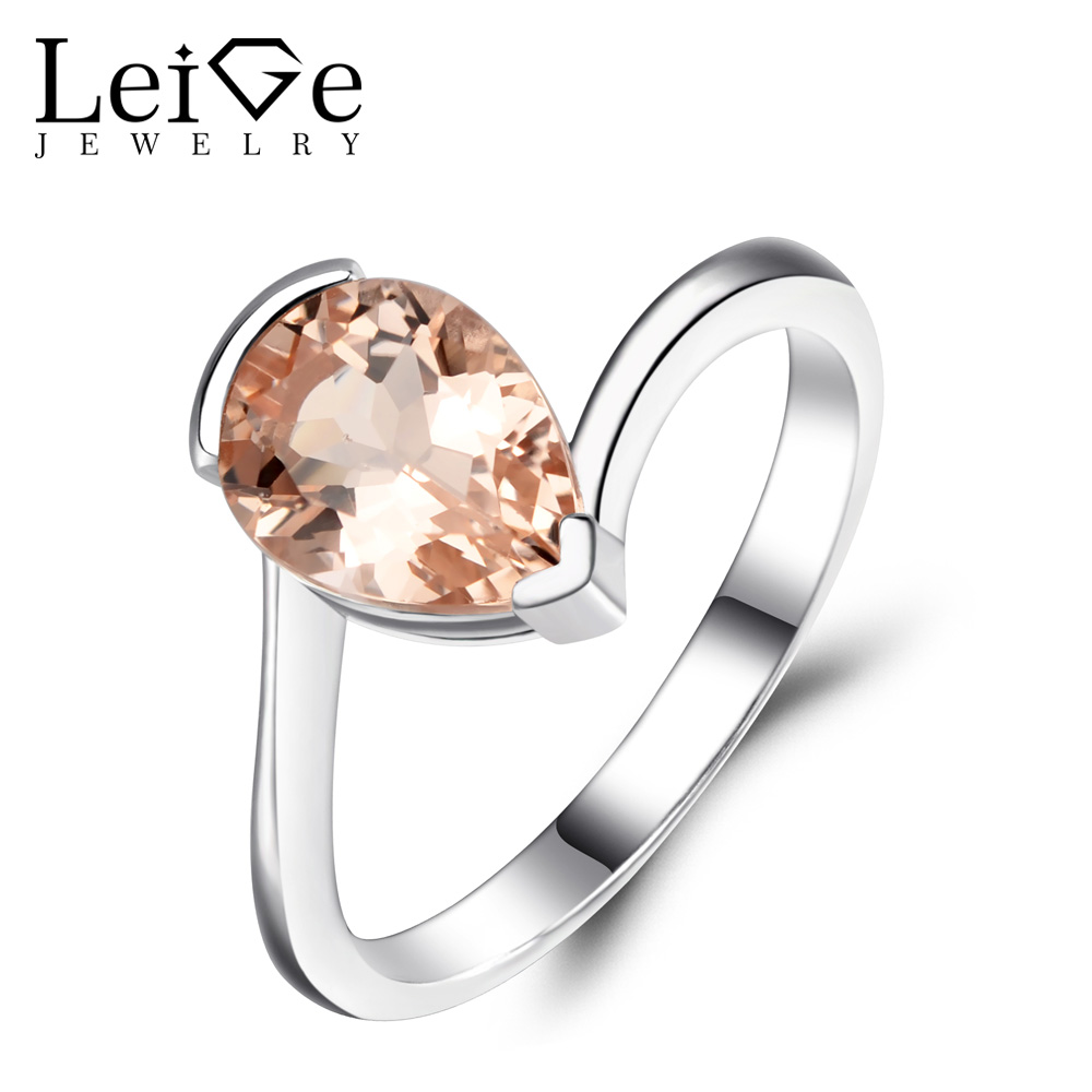 Leige Jewelry Pear Cut Morganite Engagement Rings Pink Gemstone Promise Ring for Women 925 Sterling Silver Pear Cut MorganiteLeige Jewelry Pear Cut Morganite Engagement Rings Pink Gemstone Promise Ring for Women 925 Sterling Silver Pear Cut Morganite