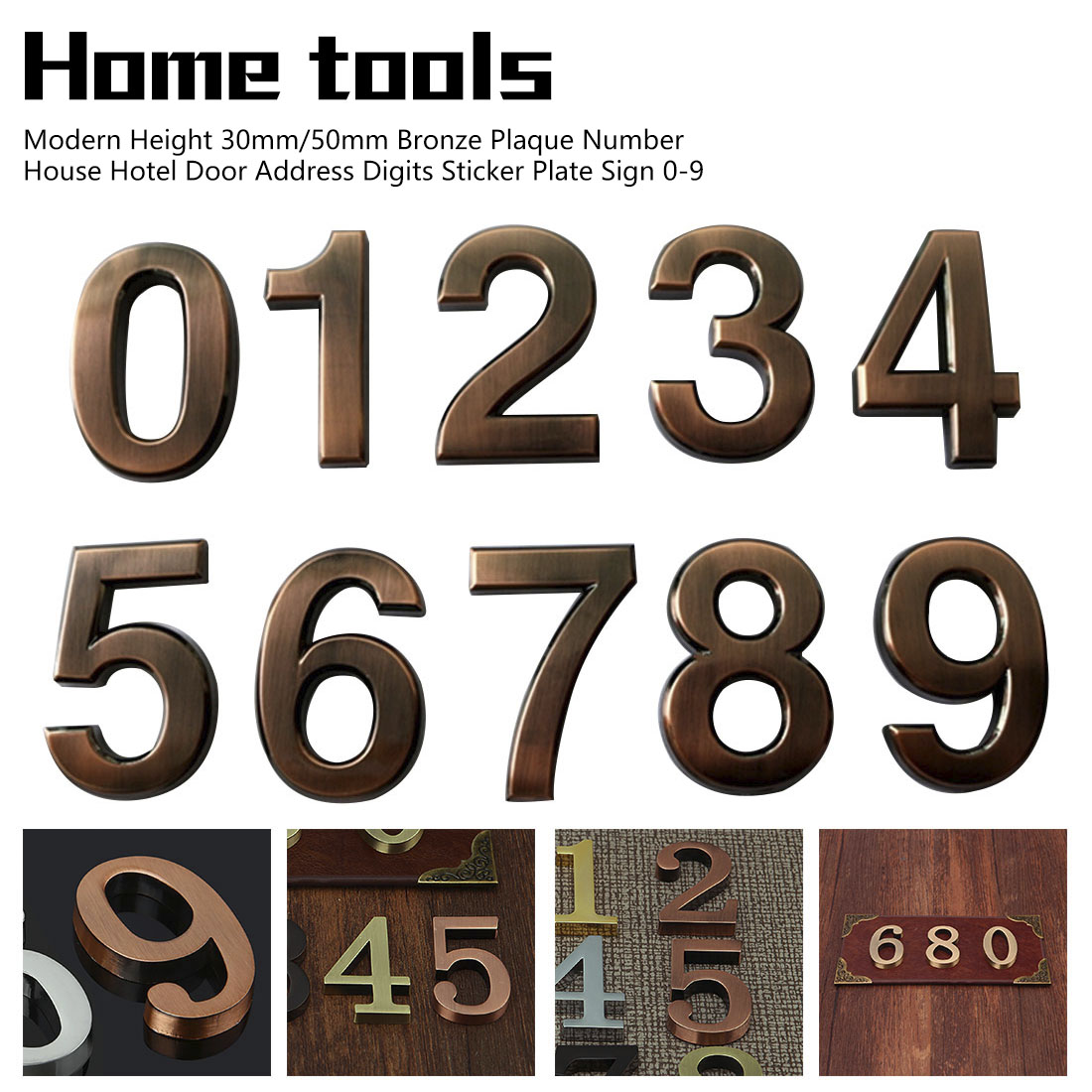 Self Adhesive Goldon Door Numbers// House Number 0-9 Available