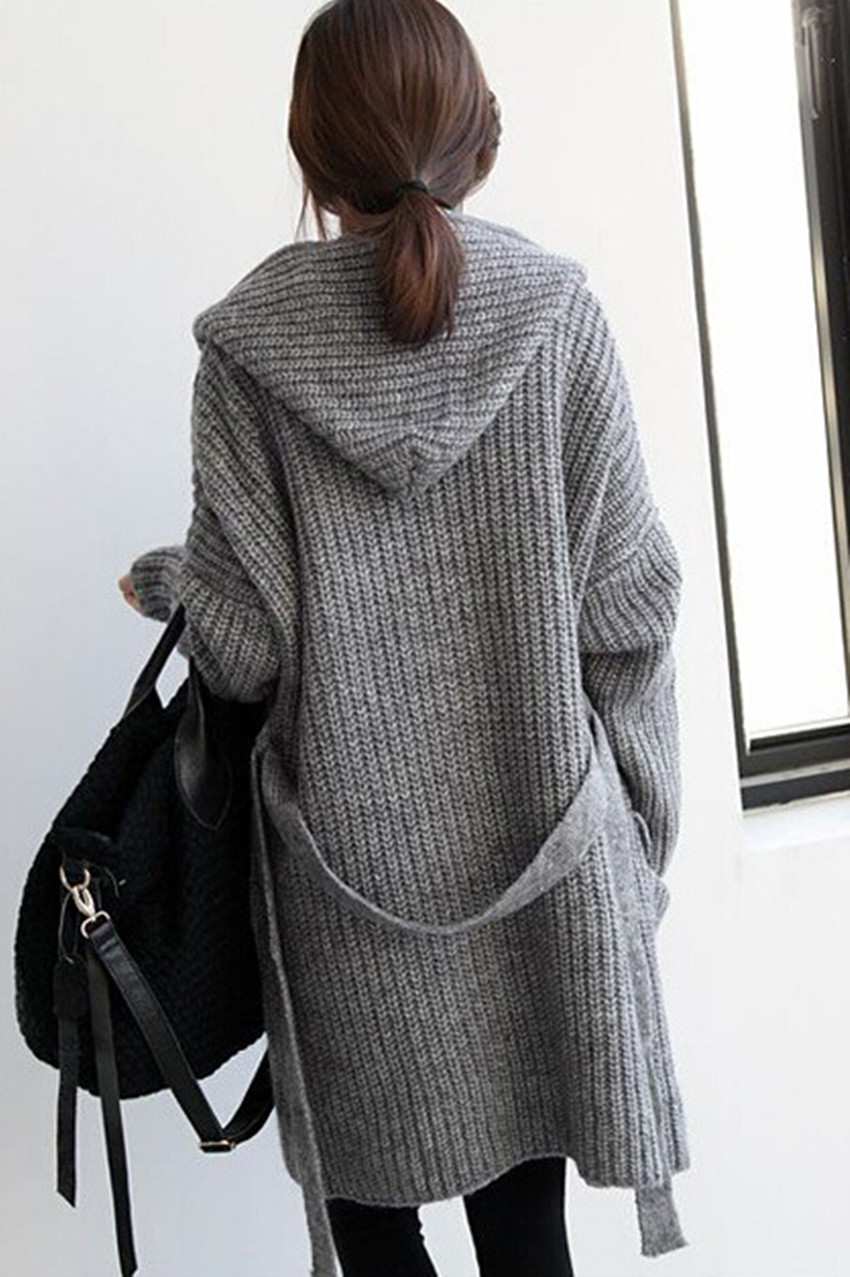 Aliexpress.com : Buy Retro Winter Hooded Loose Long Knit Thick ...