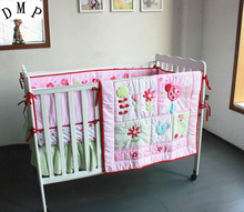 Promotion 4pcs Embroidery Baby Cot Set Crib Bumper Animal Design Baby Bedding Set include bumpers duvet