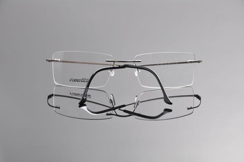Fashion Man Women Rimless Titanium Glasses Frames Clear Lens Optical Glasses Frame titanio gafas sin montura marco EV1353 in Men 39 s Eyewear Frames from Apparel Accessories