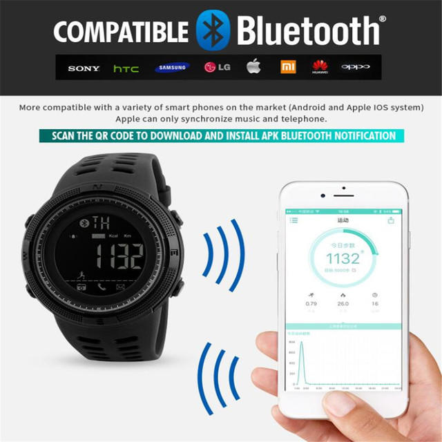 b100fce3e71 SKMEI Men Smart Watch Bluetooth Pedometer Calories Chronograph Fashion  Outdoor Sport Watches Smart Watches Waterproof Smartwatch