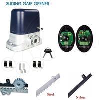 230V/120V electrical automatic sliding gate motor operator 800kg with 4m 5m 6m racks 4 remote controls 1 sensor