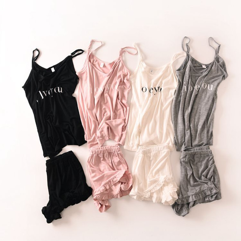 2019 New arrival sweet women pajama sets 4 colors cute pajimas with i miss you letters printed good quality for ladies