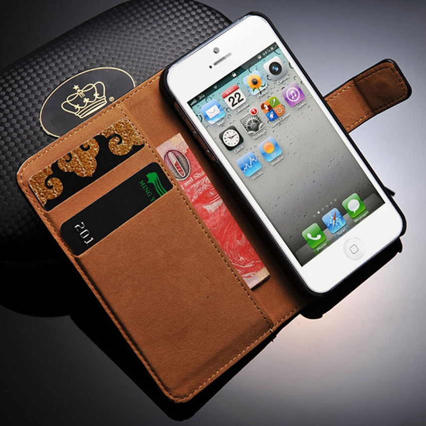 Real <font><b>Genuine</b></font> <font><b>Leather</b></font> Wallet <font><b>Case</b></font> For <font><b>iPhone</b></font> <font><b>5s</b></font> SE Flip Cover Kickstand Magnet Clasp Purse Fundas Coque For Apple <font><b>iPhone</b></font> 5 <font><b>5s</b></font> SE image